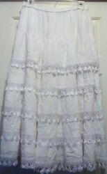 Tunique from Stein Mart Women#x27;s size Medium SKIRT White Tiered and Fringed Skirt $29.40