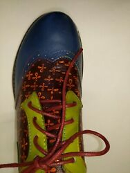 Multicolor amp; stitched faux leather. Size 7 US ladies fun lace ups $32.00