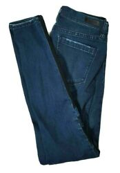 BLANKNYC Womens Low Rise SKINNY Jeans Dark Wash PLEATHER PANELS Size 29 8 $12.59