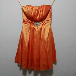 Cinderella Design Size 4XL Orange Prom Dress Strapless