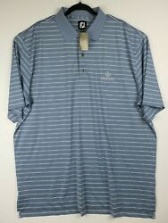 NWT FootJoy Mens Size XXL 2XL Blue White Striped Golf Performance Polo Kierland $19.33