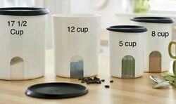 Tupperware One Touch Reminder 4 pc Canister Set Black Seals NEW $29.00