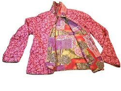 Ethnic Boho Pink Red Floral L Silk Packable Reversible Patchwork Print Jacket $17.00