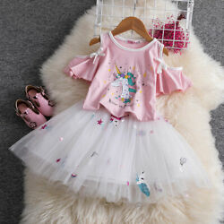Unicorn Mesh Skirt for Girls Princess Tutu Birthday Party Clothing Sets 2pcs $12.98