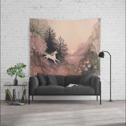 Society6 Ulla Thynell Blooming Forest Wall Unicorn Tapestry Large 88quot; x 104quot; $45.00