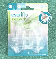 Evenflo Vented Proflo Standard Neck Nipples 4 Pack 3 mo Medium Flow $12.00