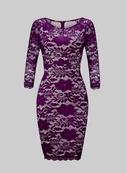 Sexy Woman Lace Dress Slim Fit Long Sleeve Dress O Neck Package Hip Dress zv $7.78