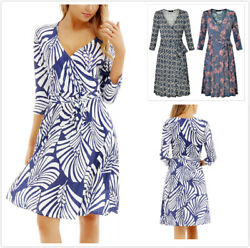 Women Long Sleeve Long Dress with Lace Up Slim Waist V Neck Printed Dresses yp $6.76