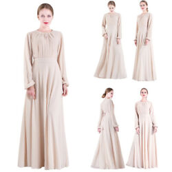 Islamic Abaya Muslim Women Chiffon Long Sleeve Maxi Dress Robes Kaftan Cocktail $35.67