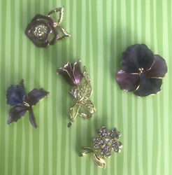 Five Purple Flowers Brooches Collection $9.95