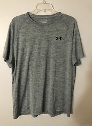 Under Armour Mens running shirt Heat Gear Loose size Large Gray $9.99