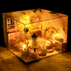 Doll House Wooden Miniature DollHouse Furniture DIY Kit LED Music Box Toy Gift $17.99