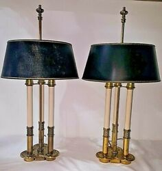 Pair of Vintage Stiffel French Brass Bouillotte Lamps with 3 Candlesticks Light $499.00