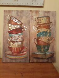 COFFEE CAPPUCCINO CAFE MOCHA MUGS KITCHEN CANVAS WALL ART SET OF 2 $13.99