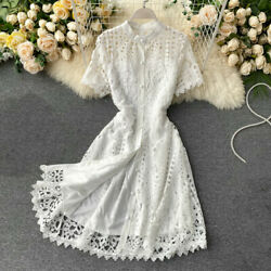 Lady Hollow Out Lace Dresses Midi Short Sleeve Floral Button Casual Fashion Chic $29.73