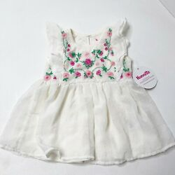 Nannette Kids Swiss Dot Floral Embroidered Girls Dress Size 3T NWT $19.98