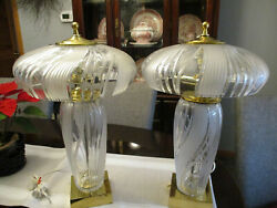 Vtg Large Pair Mid Century Cut Glass Crystal Table Lamps Hollywood Regency $199.99