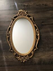 "Vintage Mid Century Syroco Gold Ornate Wall Mirror 28"" X 17"" $69.95"