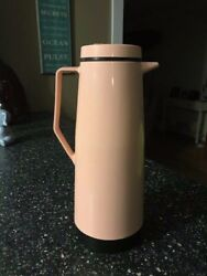 Vintage Mid Century Pink Black Thermos Pitcher Glass Insulated Coffee Tea Carafe $20.00