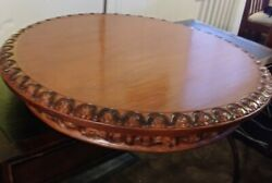 Vintage Round Ornate Carved Wood Lazy Susan Style Floor Table 28quot; Across $59.99