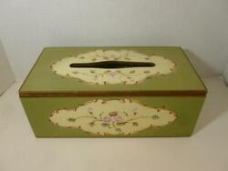 Vintage Tole Painted Wooden Tissue Box Holder Green amp; Cream Cottage Roses $19.20