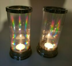 Vintage Pair of Iridescent Hurricane Candle Holders 7 1 2quot; Tall Magical Effects $38.00