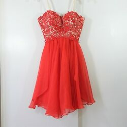 ANGELA amp; ALISON dress strapless beaded formal prom fit flare party chiffon red 8 $13.49