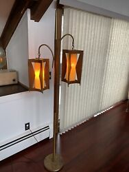 Vtg Floor mid century Pole Floor Lamp Light Swag 1970s Modern Wooden Danish Art $399.99