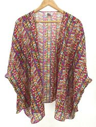 J Gee Cover Up Top Size Large Colorful Boho Geometric EUC S37 G12 $11.99