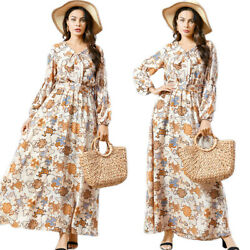 Muslim Women Chiffon Long Sleeve Maxi Dress Kaftan Abaya Robe Printed Islamic C $38.25