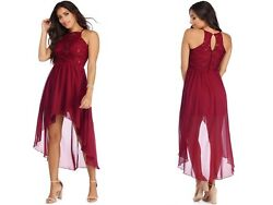 NWT Windsor Julia Size 1 or 3 Burgundy High Low Chiffon Dress Prom Party Juniors $17.27