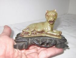 Stone Tiger Hand Carved Antique with Beautiful Original Base 3 3 4quot; L $27.95