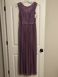 David's Bridal Long Bridesmaid Dress with Lace Bodice Size 8 Wisteria NEW