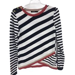 DESIGUAL Womens XS Extra Small Black White Red Striped Top $24.95