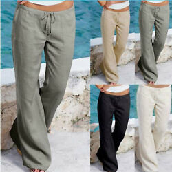 Womens Wide Leg Palazzo Pants Ladies Beach Baggy Casual Long Trousers Plus Size $16.05
