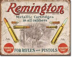 Remington For Rifles amp; Pistols Ammo Distressed Retro Vintage Ad Metal Tin Sign $16.99
