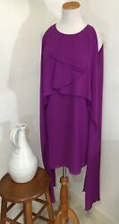 Belle Badgley Mischka Dress Size 10 Cocktail Chiffon Purple Tier Fancy Party $29.69