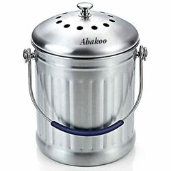 Compost Bin 1.8 Gallon Stainless Steel Abakoo 304 Kitchen Composter 2 Charcoal $50.54