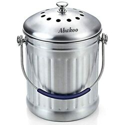 Compost Bin 1.8 Gallon Stainless Steel Abakoo 304 Kitchen Composter 2 Charcoal $53.99