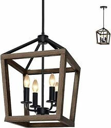 4 Light Rustic Wood Chandelier Metal Pendant Light Farmhouse Lighting $39.99