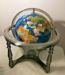 13quot; Gimballed Blue Globe w Stone Inlay amp; Compass Footed Silver Tone Gorgeous $105.00