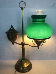"Vintage 21"" Electric Brass Oil Student Table Lamp Style Green Glass Shade $95.00"