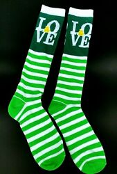 Happy St. Patrick#x27;s Day Lucky Clover LOVE Novelty Knee Highs Women#x27;s Socks 5 9 $4.95