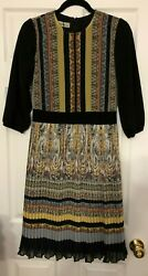 NWOT M.MIRANDA WOMENS DESIGNER BLACK PLEATED MIDI DRESS SIZE EURO 38 US 4 RR$490