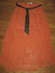 New womens Trendy maxi skirt Medium 27quot; waist Kariss terracotta long angled hem $5.24