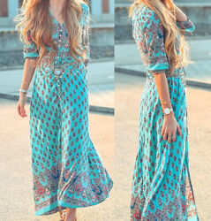 Women Lady Boho Kimono Sleeve Floral Long Maxi Summer Beach Dress Sundress $17.99