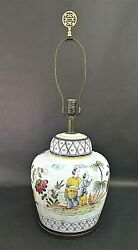 Large Signed FREDERICK COOPER Asian Chinoiserie Figures and Flowers Table Lamp $395.00