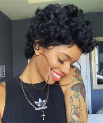 None Lace Front Wigs For black WomenShort Bob Curly Human Hair Wigs 100% Virgin $14.92