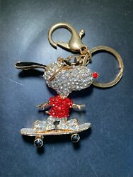 Fashion Women Beagle on Skateboard Shaped Keychain Crystal Handbag Charm $9.99