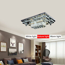 Modern Rectangle Chandeliers Crystal Dimmable Pendant Light Home Ceiling Lamp $337.03